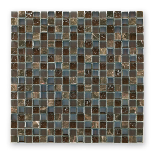 Bärwolf Tuscany brown BA-GL-2497 Materialmix Mosaik 1,5x1,5 30x30 matt/glänzend