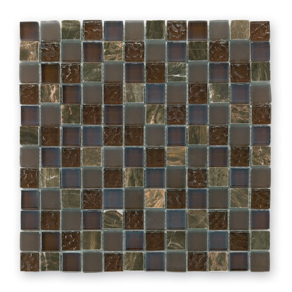 Bärwolf Tuscany brown BA-GL-2498 Materialmix Mosaik 2,3x2,3 30x30 matt/glänzend