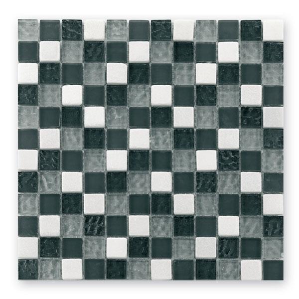 Bärwolf Tuscany silver grey mix BA-GL-2500 Materialmix Mosaik 2,3x2,3 30x30 matt/glänzend