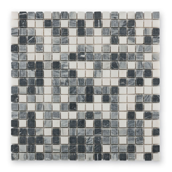 Bärwolf Square black grey white BA-AM-0004 Marmor Mosaik 1,5x1,5 30x30 matt