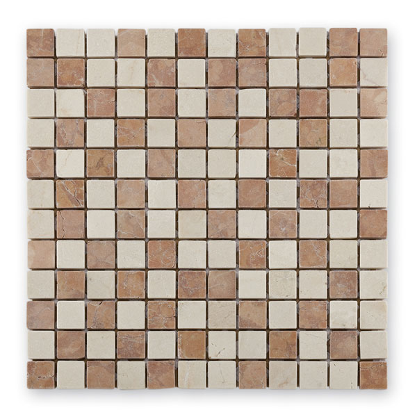 Bärwolf Square rosso cream BA-AM-0010 Marmor Mosaik 2,3x2,3 30x30 matt