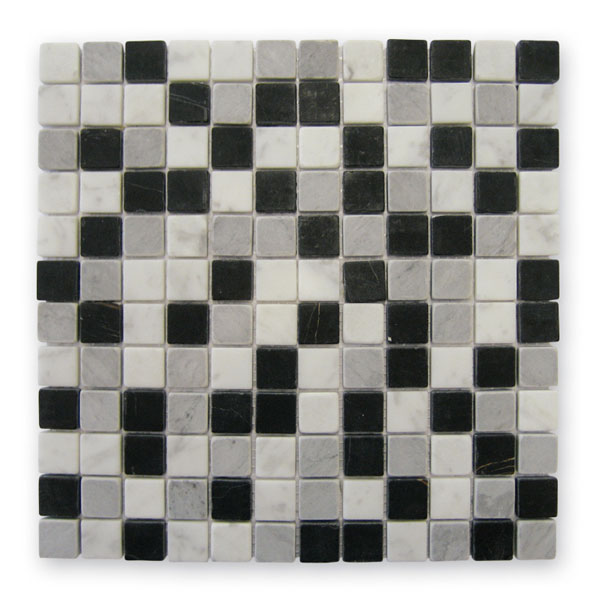 Bärwolf Square black grey white BA-AM-0011 Marmor Mosaik 2,3x2,3 30x30 matt R10