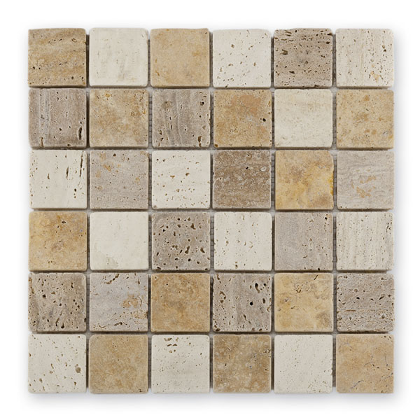 Bärwolf Square Travertin Mix BA-CM-10004 Marmor Mosaik 4,8x4,8 30x30 poliert R10