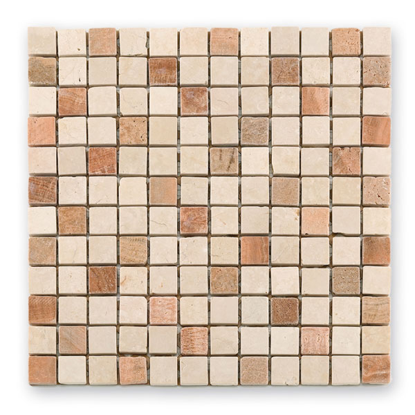 Bärwolf Square cream dark BA-CM-7108 Marmor Mosaik 2,3x2,3 30x30 matt R10