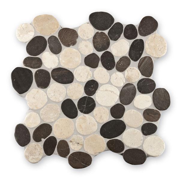 Bärwolf Pebble white grey mix BA-PMG-10001 Kiesel Mosaik Vario 30x30 matt R10
