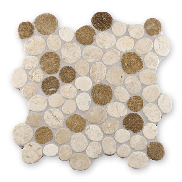 Bärwolf Pebble white sunset mix BA-PMG-10002 Kiesel Mosaik Vario 30x30 matt R10
