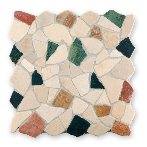 Bärwolf Crush cream rosso green BA-RM-0007 Marmor Mosaik Vario 30x30 matt R10