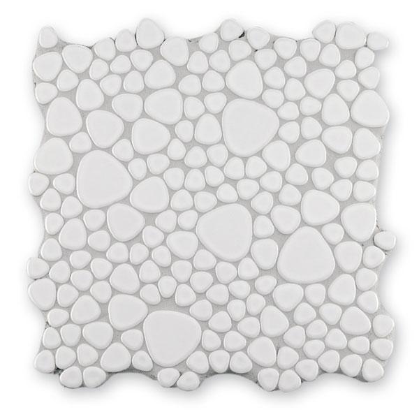 Bärwolf Pebble lucent white BA-Kiesel-250 Keramik Mosaik Vario 29x29 glänzend