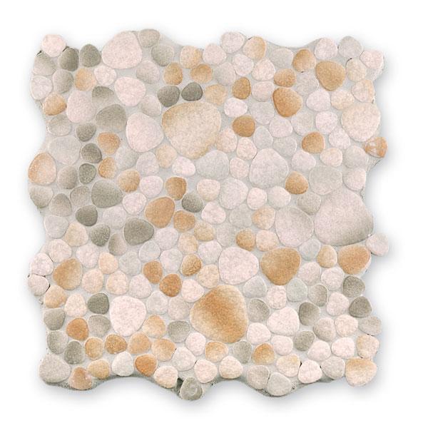 Bärwolf Pebble grey beige withe BA-Kiesel-1850 Keramik Mosaik Vario 29x29 glänzend