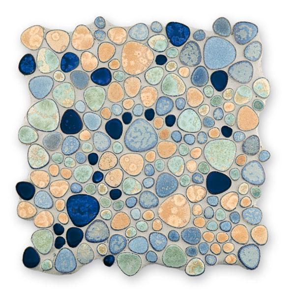 Bärwolf Pebble blue gold mix BA-Kiesel-3780 Keramik Mosaik Vario 29x29 glänzend