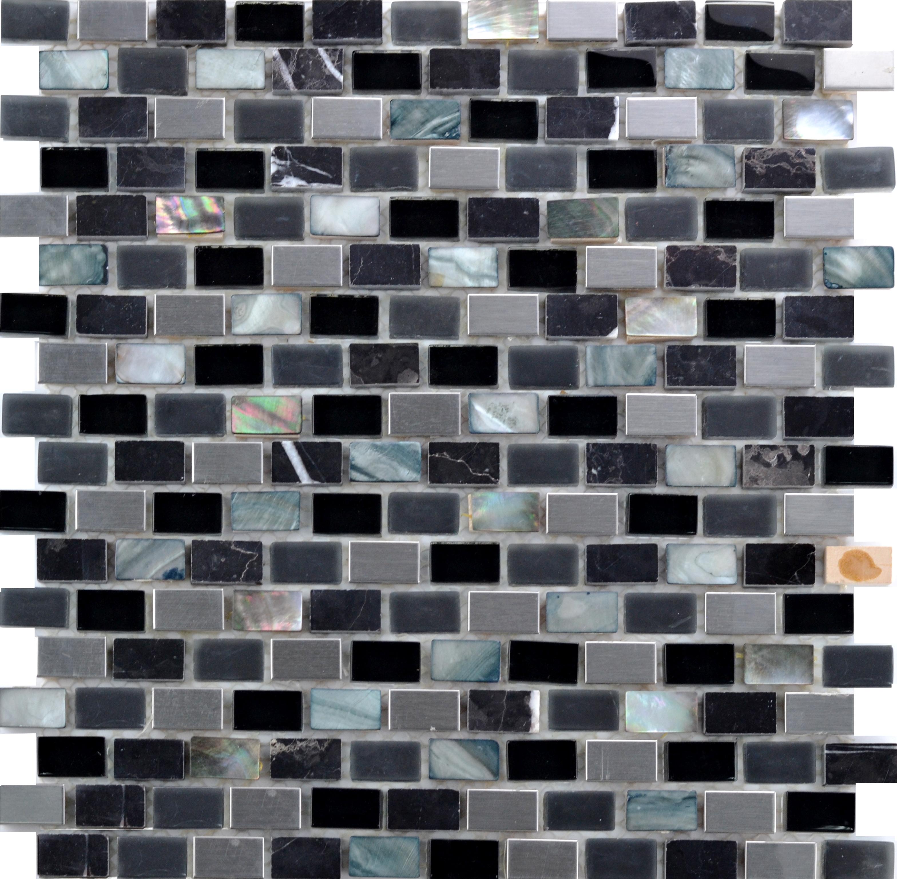 Bien Glana Schwarz/Metall be-PML088 Mosaik 30x30