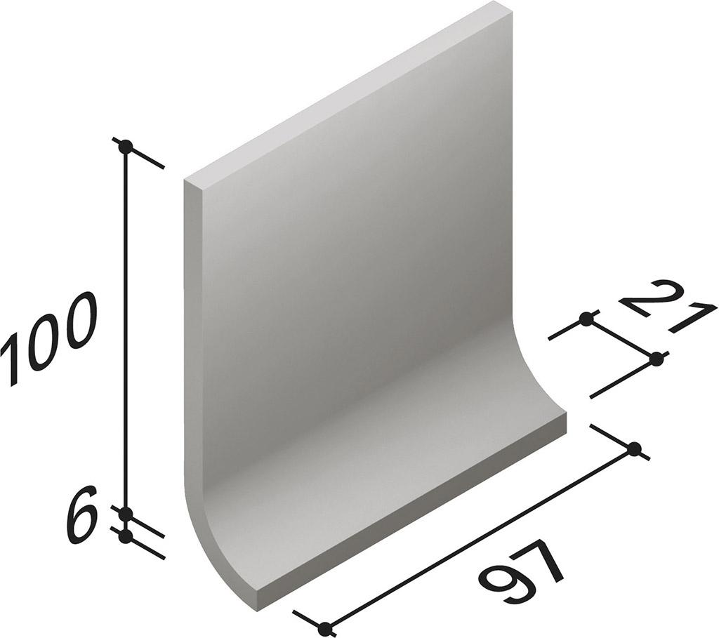 Villeroy und Boch Unit One grey 2072 UT42 0 Hohlkehlsockel 10x10 matt