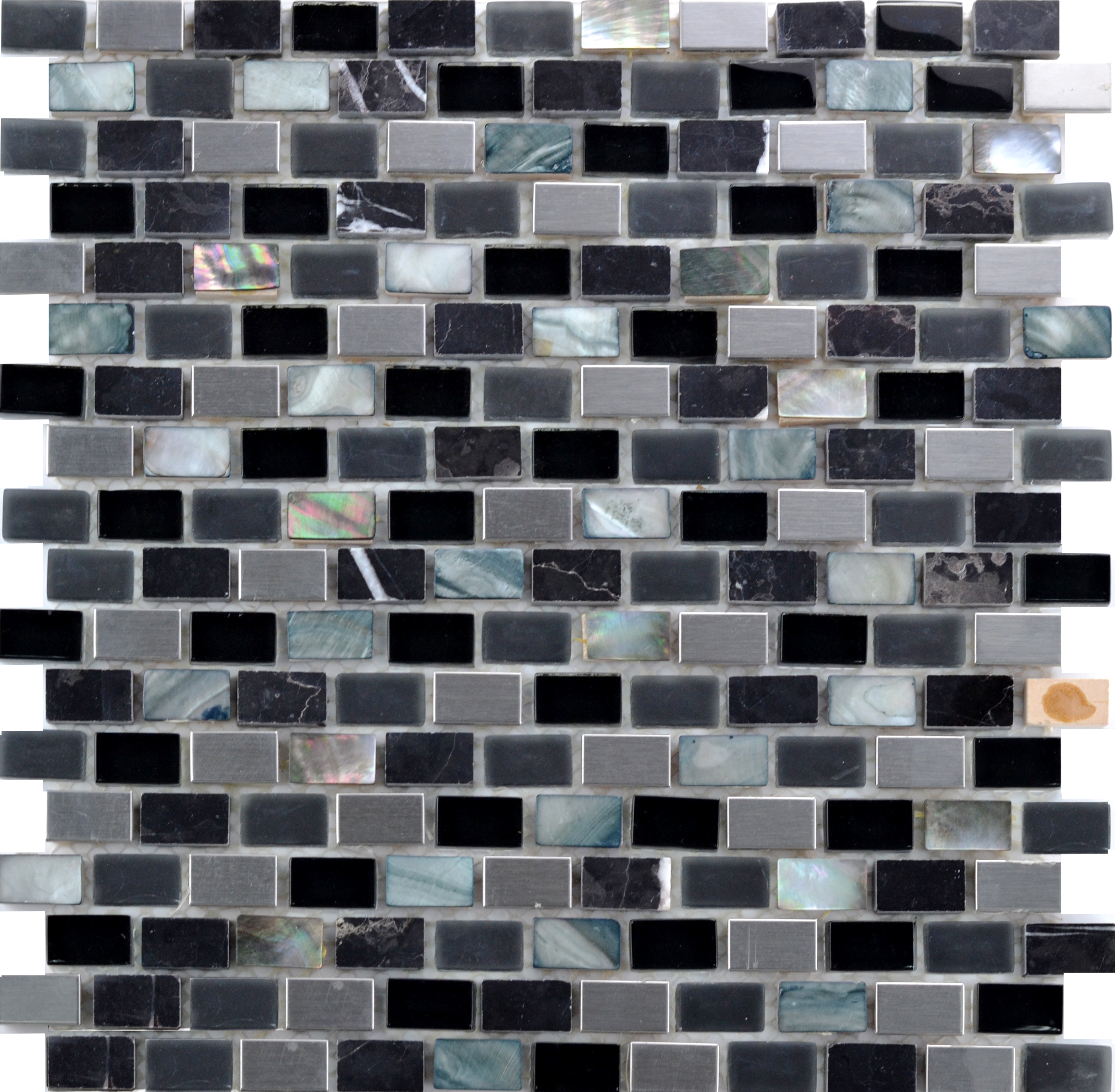Cinque Glana Schwarz/Metall be-PML088 Mosaik 30x30