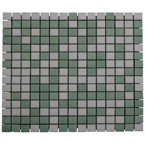 Cinque Verdus  Mosaik Grün-Weiß 2x2 Glas