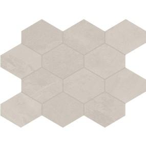 Unicom Starker BRAZILIAN SLATE Oxford White Hexagon UNI-0008491 Mosaik 25x34 Matt