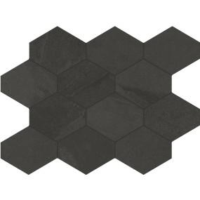 Unicom Starker BRAZILIAN SLATE Rail Black Hexagon UNI-0008495 Mosaik 25x34 Matt