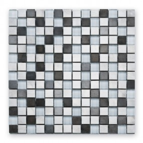 Bärwolf Steel white mix BA-GL-2600 Materialmix Mosaik 1,9x1,9 30x30 matt/glänzend