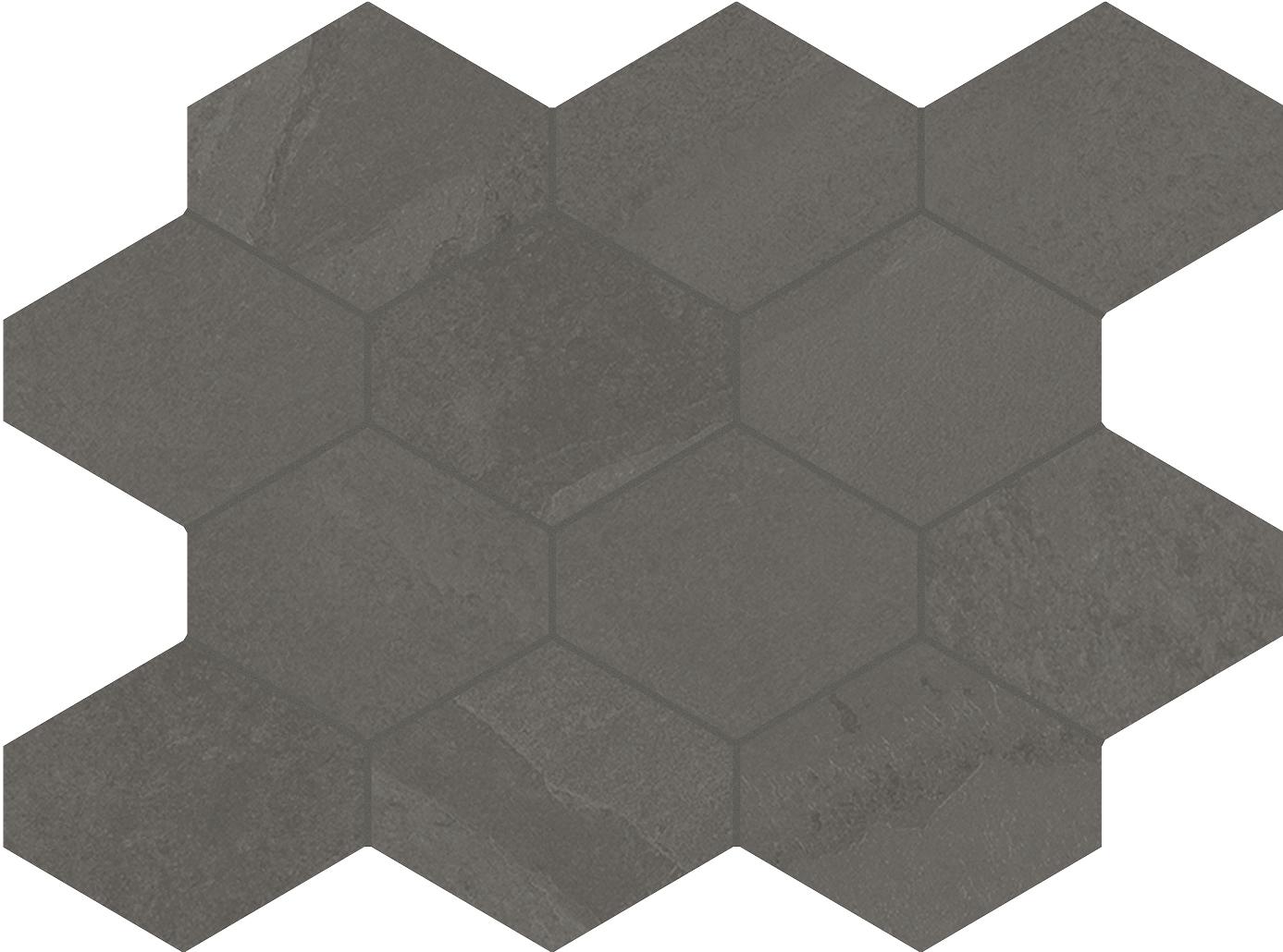 Unicom Starker BRAZILIAN SLATE Elephant Grey Hexagon UNI-0008493 Mosaik 25x34 Matt
