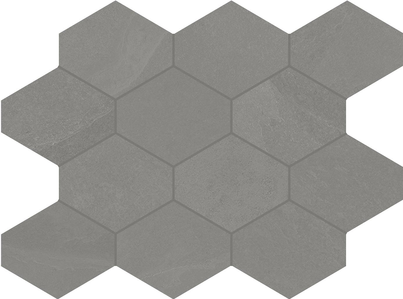 Unicom Starker BRAZILIAN SLATE Silk Grey Hexagon UNI-0008492 Mosaik 25x34 Matt