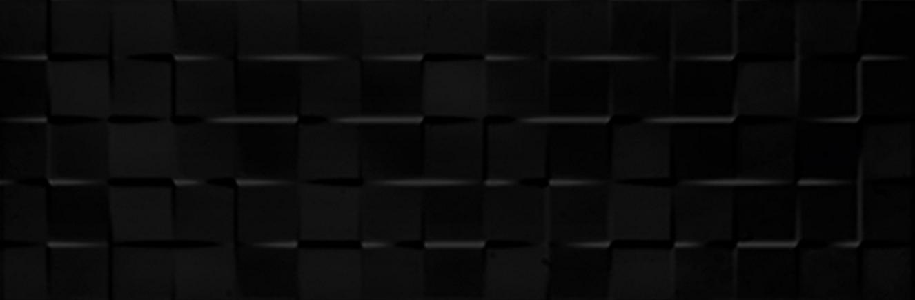 Tau Ceramica Sun cubic black Wandfliese 25x75 glänzend