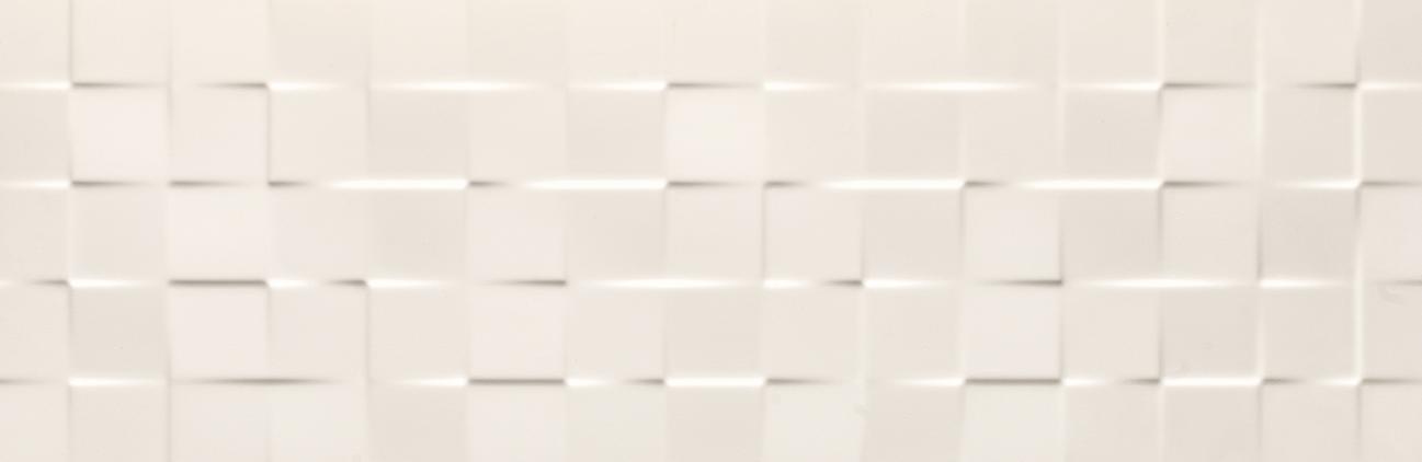 Tau Ceramica Sun cubic white Wandfliese 25x75 glänzend