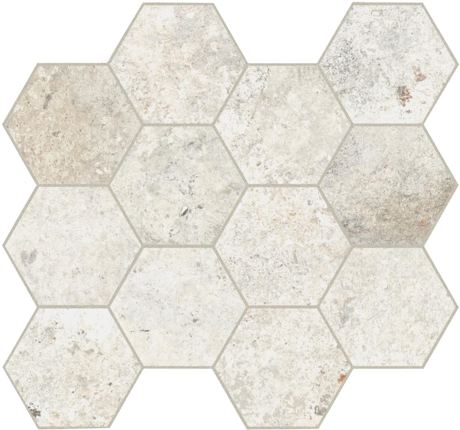 Unicom Starker DEBRIS TALC HEXAGON UNI-0008042 Mosaik 30x34 Matt