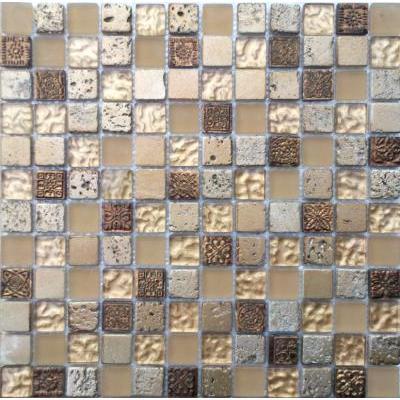 Glas-Naturstein Mosaik 2,5x2,5 gold mix FP-WK2307 30x30