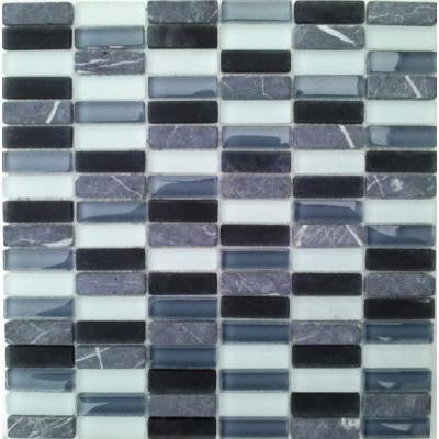 Glas-Naturstein Mosaik 1,5x5 grau FP-SG1548-4 30x30