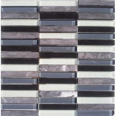 Glas-Naturstein Mosaik 1,5x10 grau/schwarz/weiß FP-SG1598-4 30x30