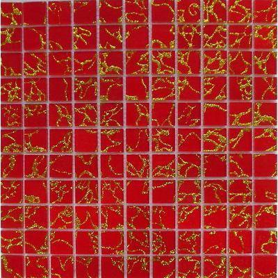 Glas Mosaik 2,5x2,5 rot/gold FP-QCG001-A 30x30