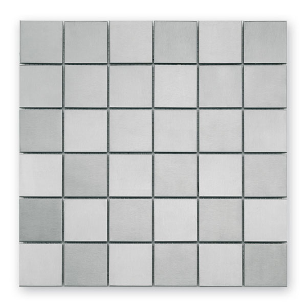 Bärwolf Steel silver checkerboard BA-MC-0051 Metall Mosaik 5,2x5,2 30x30 matt/glänzend