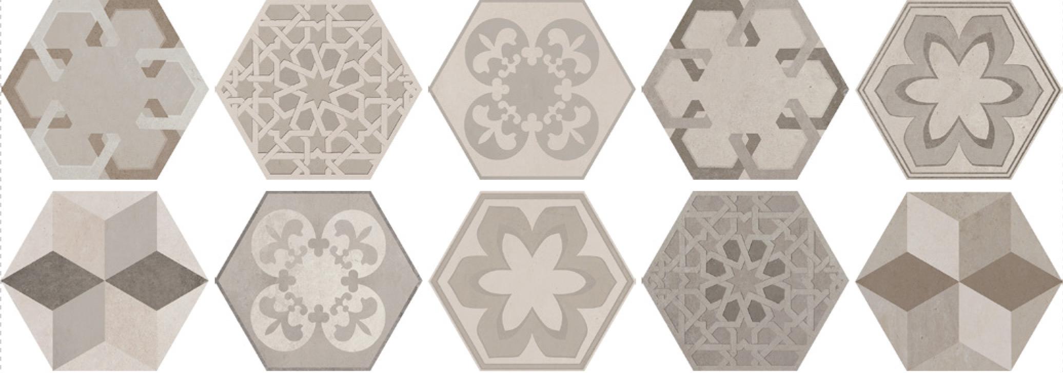 Savoia Domus  Decori Mix SA-S4013DEC Bodenfliese 40x40 matt  Hexagon